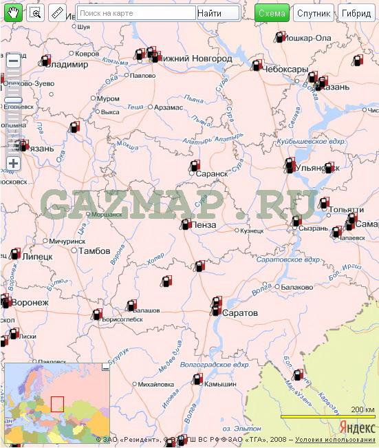 Карта АГНКС (газовые заправки