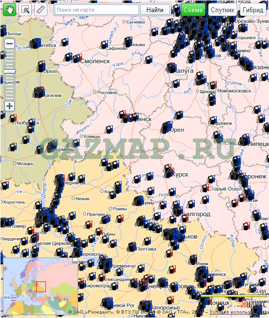 Все газовые заправки на карте