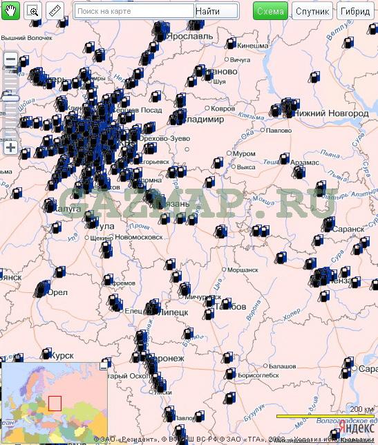 метановые азгс по россии карта
