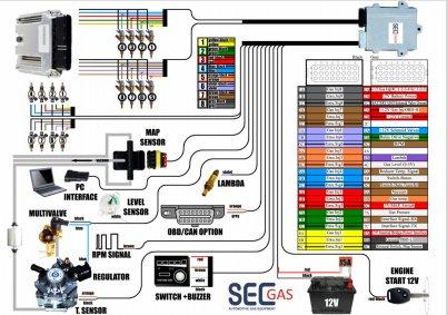 схема подключения ГБО SECGAS 6 и 8 цилиндров