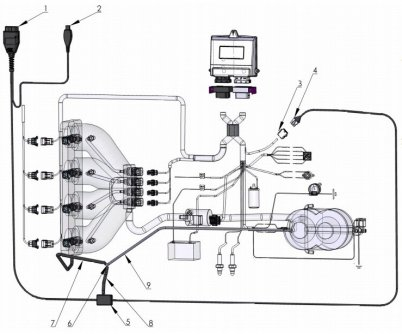 схема подключения ГБО Lecho к разъему OBD